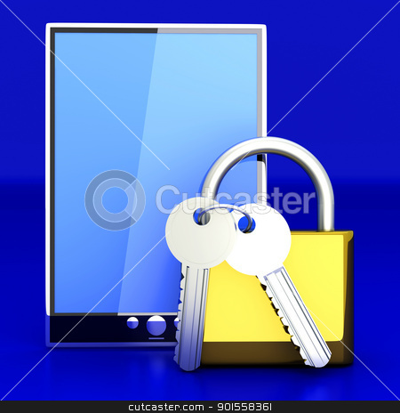 Secure Tablet PC stock photo, A secure Tablet PC. 3D rendered illustration. by Michael Osterrieder