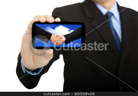 cloud computing and success business in smart phone stock photo, cloud computing and success business in smart phone by tomwang