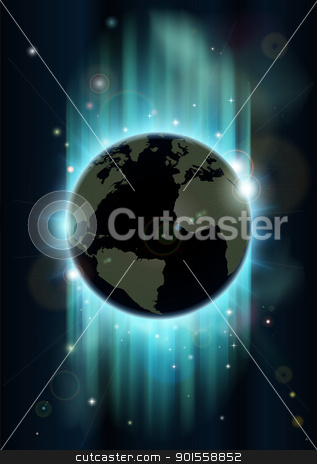 Abstract world globe space background stock vector clipart, Abstract futuristic background with earth and stars in blues and greens  by Christos Georghiou