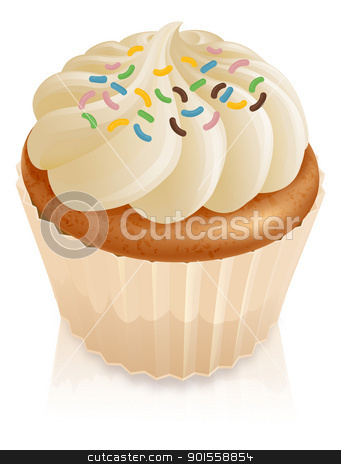 Fairy cake cupcake with sprinkles stock vector clipart, Illustration of a fairy cake cupcake with multicoloured sprinkles by Christos Georghiou
