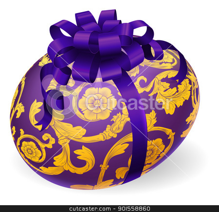 Purple and gold Easter Egg With Bow stock vector clipart, Illustration of a purple Easter egg with bow and ornate floral patterns by Christos Georghiou