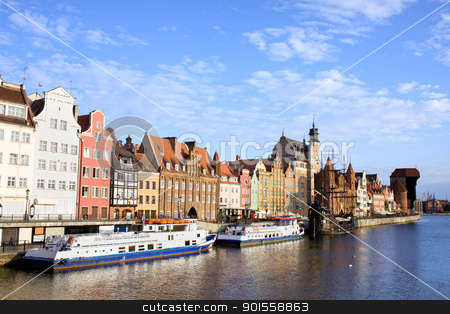 Gdansk Old Town in Poland stock photo, Picturesque waterfront scenery by the Motlawa river in the Old Town of Gdansk in Poland, composition with copyspace by Rognar