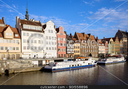 Gdansk Old Town in Poland stock photo, Waterfront scenery by the Motlawa river in the Old Town of Gdansk in Poland by Rognar