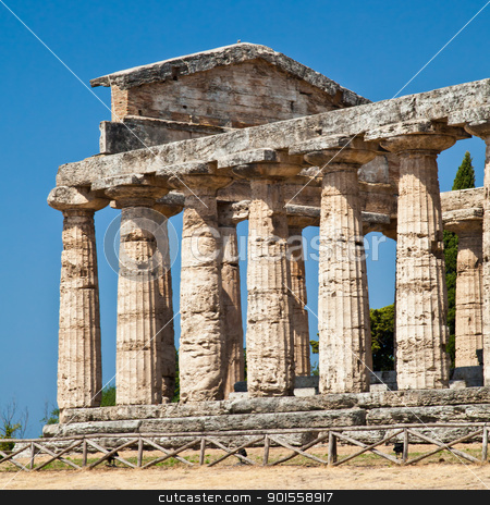 Paestum temple - Italy stock photo, The main features of the site today are the standing remains of three major temples in Doric style, dating from the first half of the 6th century BC by Perseomedusa