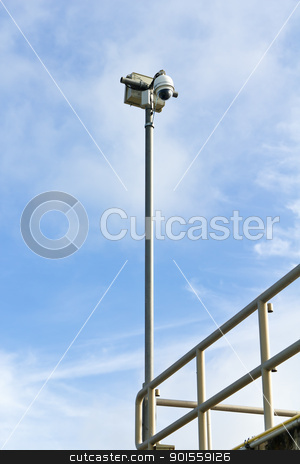 Dome CCTV camera  stock photo, Dome CCTV camera against the blue sky by stoonn
