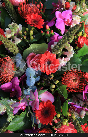 Mixed flower arrangement in pink and red stock photo, Mixed floral arrangement in purple, pink and red by Porto Sabbia