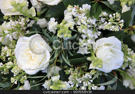 Mixed white bouquet stock photo, Two big white roses as part of a mixed white floral arrangement by Porto Sabbia