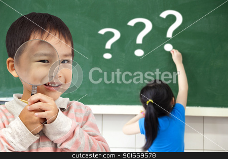 happy kids with drawing question mark in the classroom stock photo, happy kids with drawing question mark in the classroom by tomwang