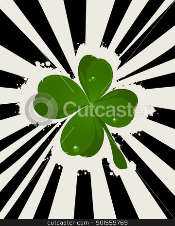 Abstract St. Patrick's Day stock vector clipart, Abstract St. Patrick's Day with lucky four leaves clover. by Richard Laschon
