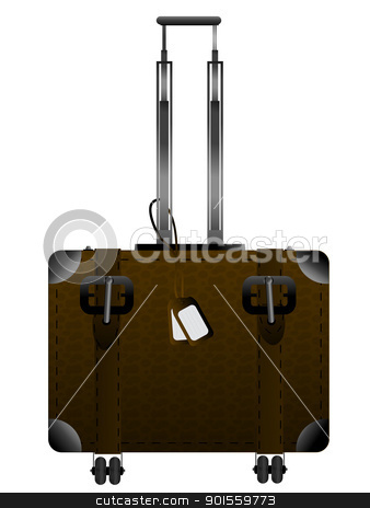 Luggage graphic stock vector clipart, Big leather luggage with handle and wheels over white by Richard Laschon