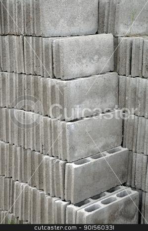 Grey bricks stock photo, Grey bricks used for building a house by bigjom