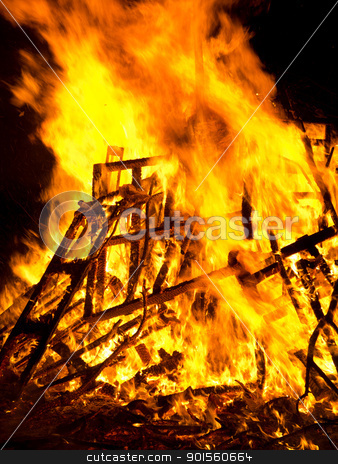Bright burning wood outside bonfire flames. stock photo, Bright burning wood outside bonfire flames. by Stephen Rees