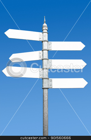Multidirectional six way signpost with blank spaces for text. stock photo, Multidirectional six way signpost with blank spaces for text. by Stephen Rees