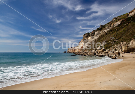 Beautiful beach stock photo, Landscape picture of the beautiful beach from Nazare, Portugal by ikostudio