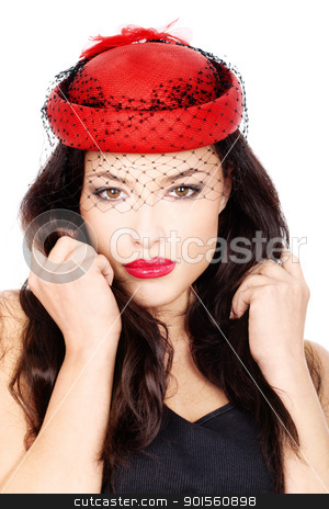 girl with red hat stock photo, Pretty black hair woman with red hat and black mesh, isolated on white by iMarin