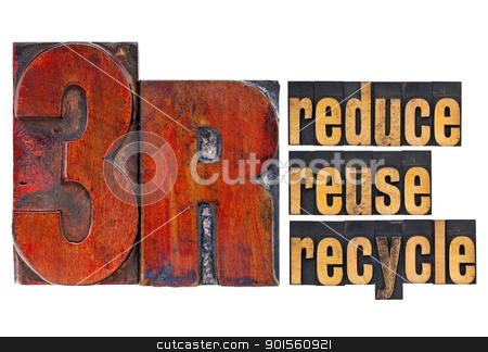 reduce, reuse, recycle - 3R concept stock photo, reduce, reuse, recycle - 3R concept - a collage of isolated words in  vintage letterpress wood type by Marek Uliasz