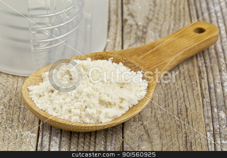 whey protein concentrate powder stock photo, whey protein concentrate powder on wooden scoop and a shaker bootle - nutrition concept by Marek Uliasz