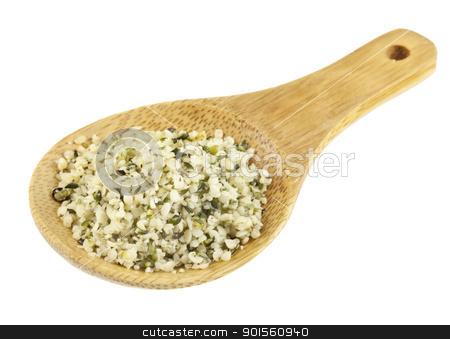 hemp seeds stock photo, shelled hemp seeds on a small bamboo spoon isolated on white by Marek Uliasz