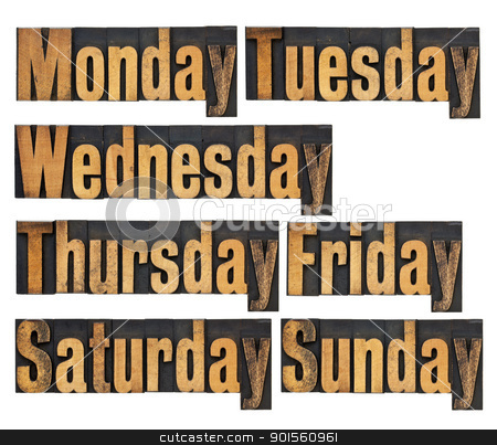 days of week in wood type stock photo, seven days of week from Monday to Sunday - a collage of isolated words in vintage letterpress wood type by Marek Uliasz