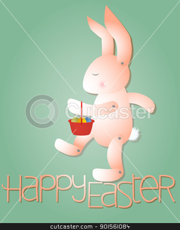 Pink Rabbit with Easter Eggs stock vector clipart, Vector of a pink rabbit with Easter eggs in a basket. by Psychopu