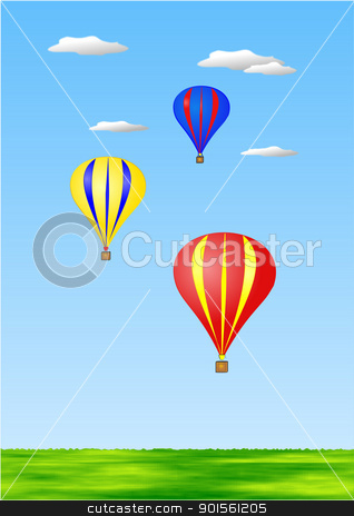 Hot air balloons stock photo, Colourful hot air balloons against blue sky illustration by jacqueline moore