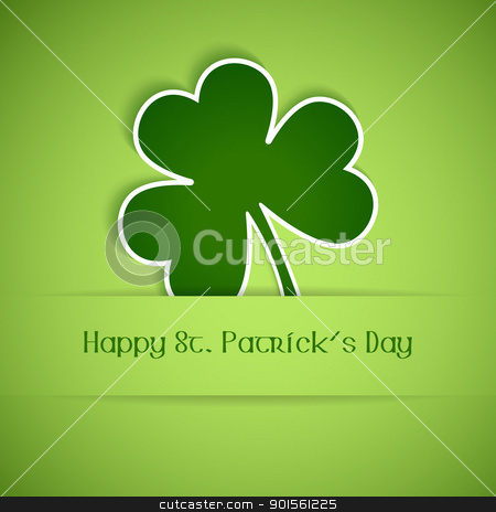Happy St Patrick's Day card stock vector clipart, Shamrock, clover design, perfect for St. Patrick's Day. EPS10 by Ina Wendrock