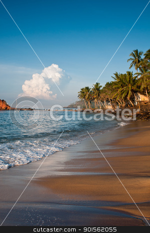 Romantic tropical beach stock photo, Romantic tropical beach with palms, blue sky and clouds by Iryna Rasko