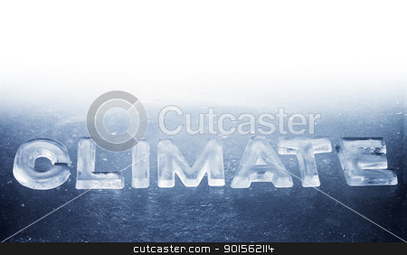 Climate stock photo, Word Climate made of real ice letters. by Stocksnapper