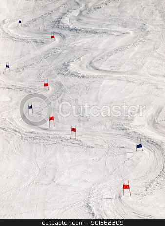 Ski slope stock photo, View of the ski slope with slalom markers. by Sinisa Botas