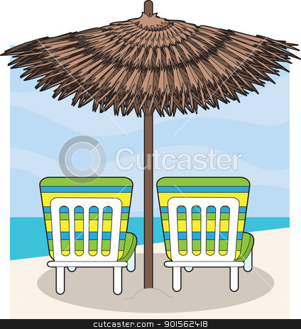 Beach Chairs stock vector clipart, A pair of lounge chairs on the beach face the water. A beach umbrella provides shade. by Maria Bell