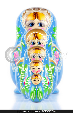 Matrioska Russian Doll stock photo, Matrioska Russian Doll, hand-painted, isolated in white background, shadow underneath by ruigsantos