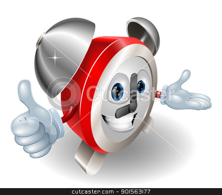 clock character 2012 D5 [Converted] stock vector clipart, Cute cartoon character alarm clock giving a thumbs up by Christos Georghiou