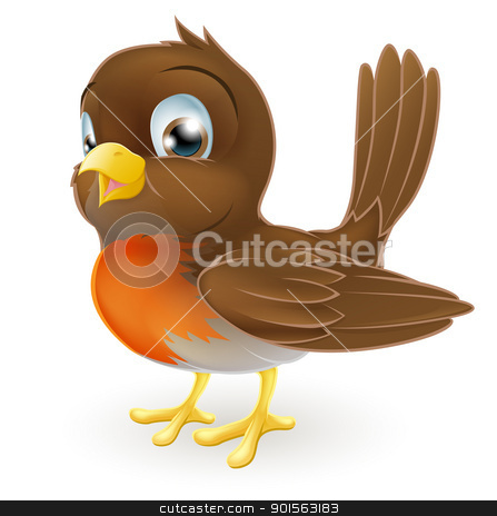 Cute cartoon Robin Illustration stock vector clipart, Drawing of a cute cartoon Robin bird standing by Christos Georghiou