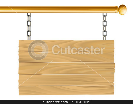 Wood suspended sign illustration stock vector clipart, Illustration of a wooden sign hanging suspended from a brass metal pole by Christos Georghiou