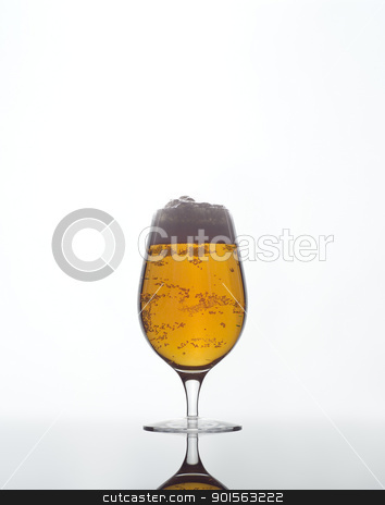 Glass of Beer stock photo, Glass of Beer on white background by Anne-Louise Quarfoth
