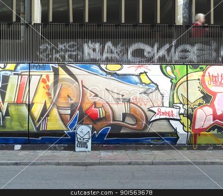 Graffitti Wall stock photo, City scene with a Graffitti Wall by Anne-Louise Quarfoth