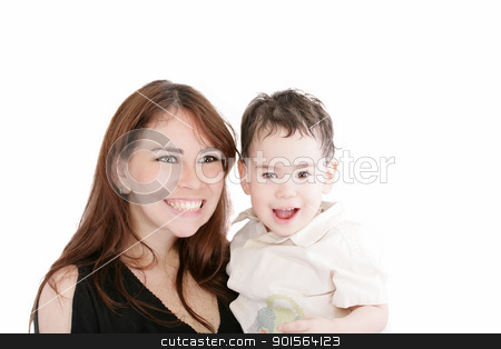 Bright picture of happy mother and little son over white  stock photo, Bright picture of happy mother and little son over white   by dacasdo