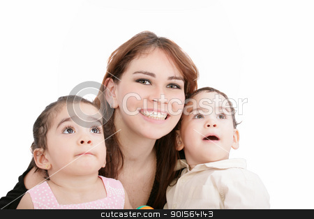 children with mother on white background  stock photo, children with mother on white background   by dacasdo