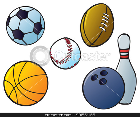 Sports Balls stock vector clipart, Five different sports balls from sports that are common in North America and Europe. by Jamie Slavy