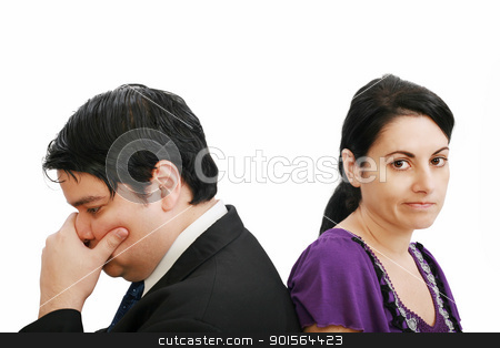 young couple together in state of troubles  stock photo, young couple together in state of troubles   by dacasdo