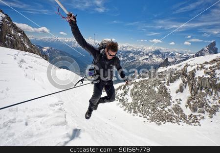 leap of faith stock photo, mountaineer on a Italian glacier (Mont Blanc Massif, Italian Alps) by vinciber