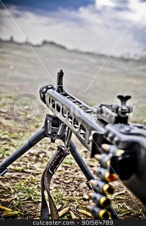 machine gun stock photo, Detail of Machine Gun, World War II style by vinciber