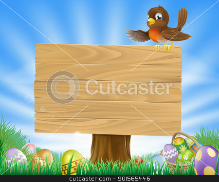 Easter sign with bird and eggs stock vector clipart, A cute robin bird character sitting on a message board sign surrounded by Easter eggs in a green field  by Christos Georghiou