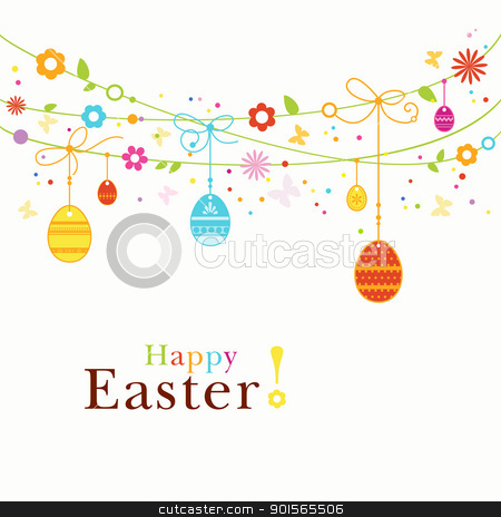 Colorful Happy Easter border stock vector clipart, Hanging Easter eggs, flowers, butterflies and colorful dot forming a happy, colorful border with space for your text. Great for the coming Easter celebration by Ina Wendrock