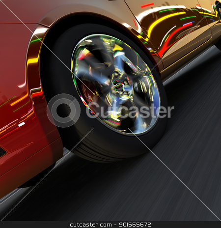 Dynamic racing car and the lights of the city stock photo, A fragment of a dynamic racing car. On the surface of the car and light-alloy wheels reflect the dynamic lights of evening city by Antartis
