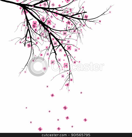 Blossom Cherry   stock vector clipart, Beautiful blossom cherry isolated on gray background  by Ingvar Bjork