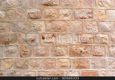 Wall built of rough stone blocks  stock photo, Wall built of rough stone blocks  by Shlomo Polonsky