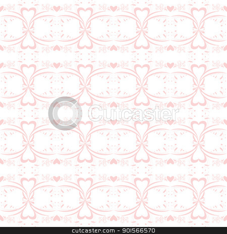 Seamless Floral Pattern stock vector clipart, Seamless pattern of hearts and floral by Ingvar Bjork