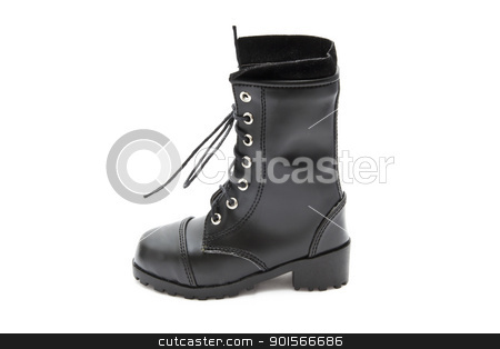 Fashion Boot stock photo, Black fashion boot isolated on white background by Sasas Design