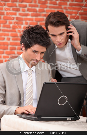 Men resolving a problem on computer stock photo, Men resolving a problem on computer by photography33